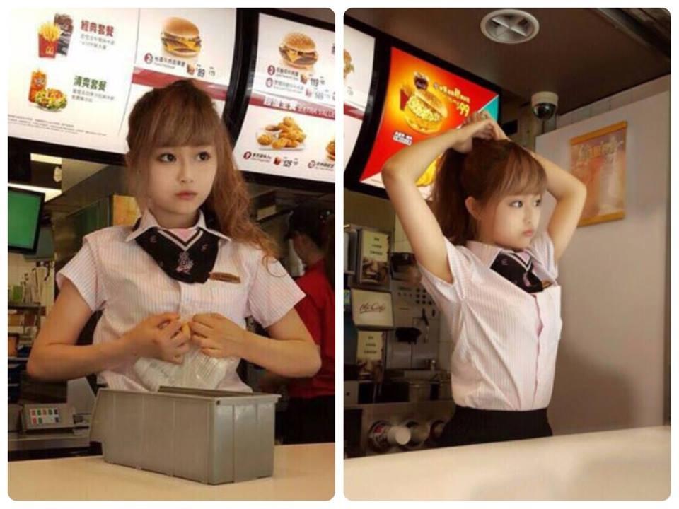 網上大瘋傳麥當勞正妹!!太可愛了啦!!