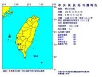 台東外海發生規模5.4地震 南台灣最大震度2級