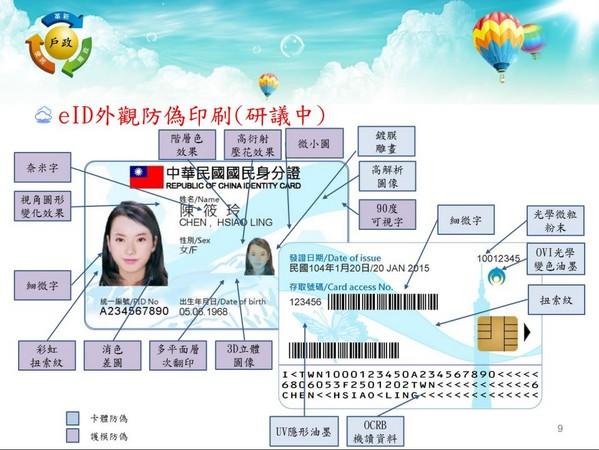 新版晶片身分證設計。(圖/翻拍自國發部「晶片國民身分證簡報」)