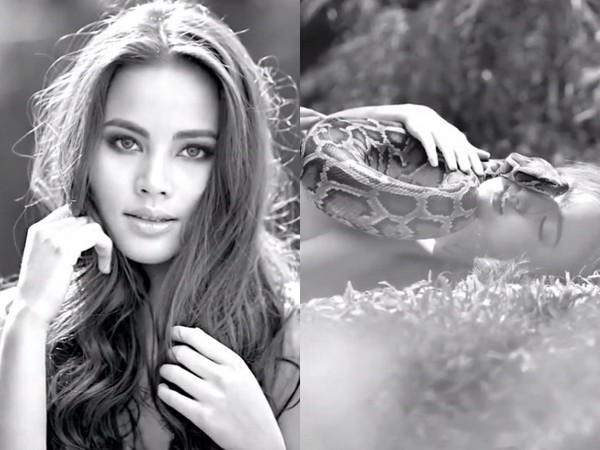 泰國30女神脫了! 「全裸做善事」任蟒蛇爬乳間