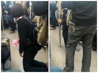 上海地鐵車廂女孩跪走乞討 親人跟在後開音響唱歌