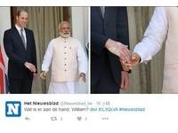 狠捏威廉王子右手 被印度總理握完手竟留著白色掌印…