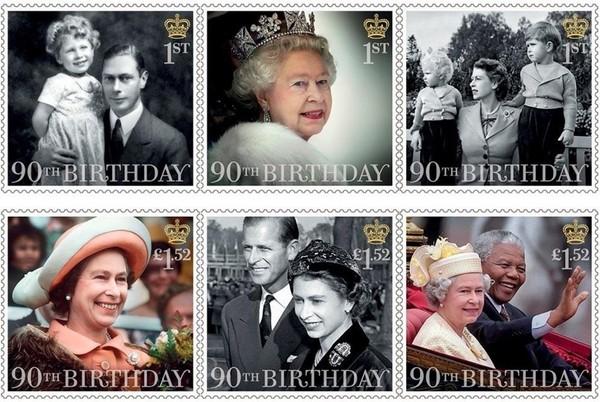 英国女王90大寿出纪念邮票 乔治小王子垫高高祝寿图片