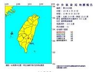 快訊/台東外海10:58發生4.1地震 最大震度5級