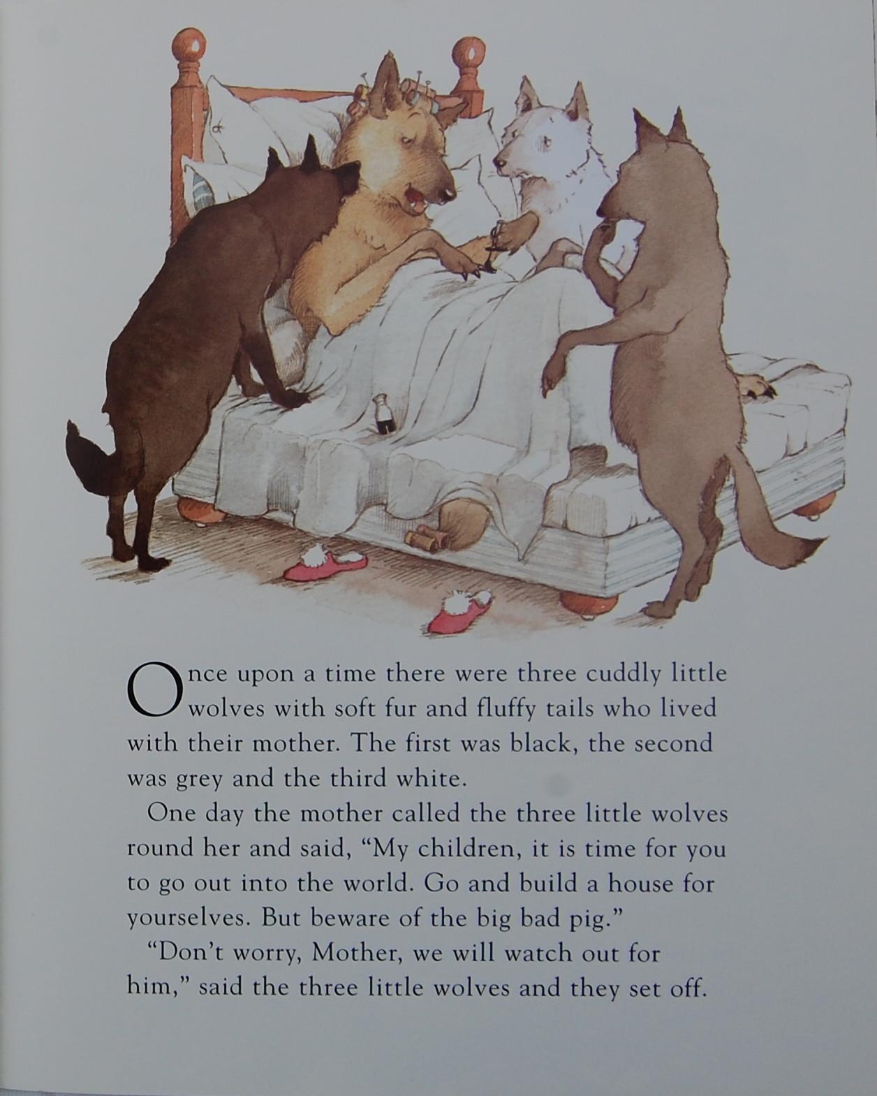 吹萨克斯的向日葵和猫-▼听完妈妈的话,三只小狼便著手他们的新家.到这里故事和《三只小