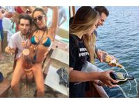富二代的暑假怎麼過?爽貼比基尼女郎、美酒倒入海中…