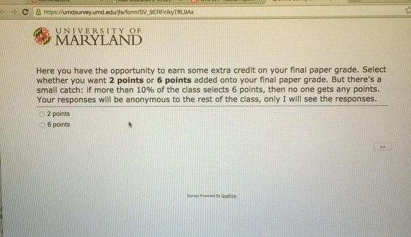 美教授寄有趣測驗 問學生期末要2分或6分?   文章內置圖片