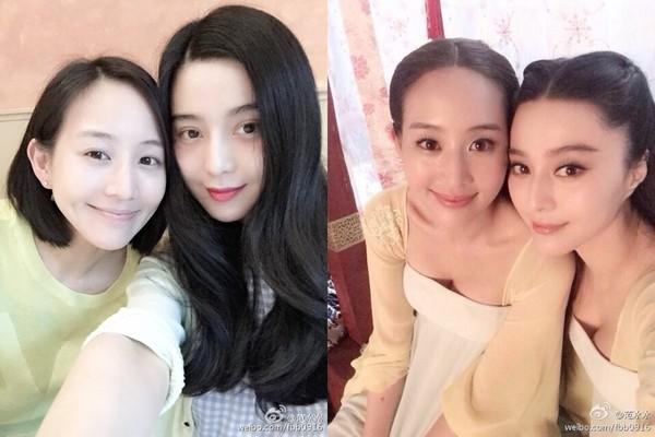 范冰冰和張鈞甯因一起拍攝《武媚娘傳奇》而成為好友。(圖/翻攝自范冰冰微博)