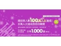 樂桃慶突破百萬人次 國內線來回含稅1000元起
