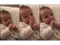 2月大女嬰竟會說「哈囉」 媽媽聽到驚呆了