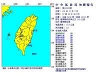 快訊/南港手機警報大響!台東外海規模5地震 最大震度3級