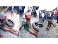 偷食物Garri?奈及利亞7歲童脖套輪胎滿臉血遭活活燒死