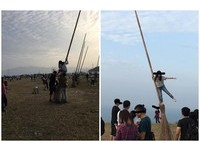 搶孤?基隆環保復育公園「掃把救星」 少女爬高高抬腿拍照