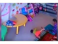 9月女嬰頭骨骨折 看監視器才發現遭保姆狠踹飛+甩巴掌