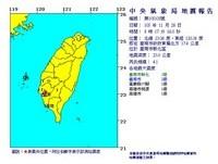 快訊/08:17台南規模4.1地震 最大震度3級