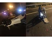 國道BMW不當變換車道擦撞 後車衰翻覆連引擎也噴飛