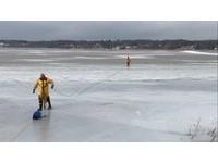 黃金獵犬掉結冰湖拚命掙扎 密西根消防員冒險橫越救一命