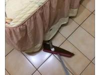 貓奴清理房間! 喵星人躲床底伸手壓掃把搗蛋:本宮不准~