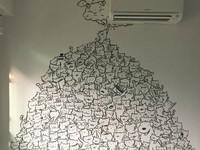 這一整面萌貓咪牆都她畫的!超萌Tsum Tsum的堆疊插畫