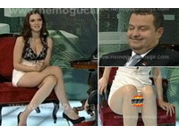 美女主持人沒穿內褲 塞爾維亞總理頓時結巴一直瞄!