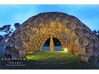 高雄約會新景點 大型竹編藝術浪漫點亮都會公園夜晚