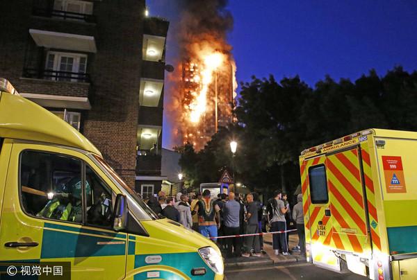 ▲▼倫敦大樓大火。(圖/CFP)