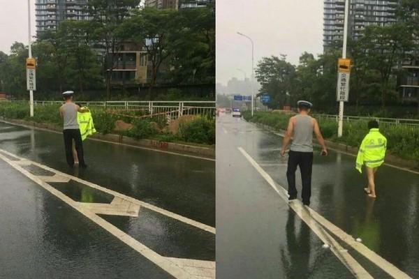 ▲▼深圳女子裸體遊街,暖男警一路跟隨。(圖/翻攝自微博)