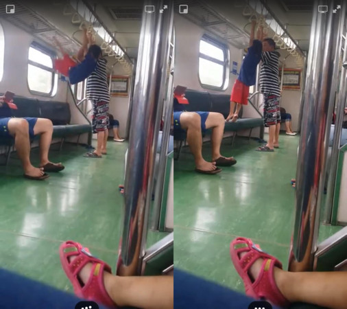 ▲▼男童在火車上作體操。(圖/翻攝爆料公社)
