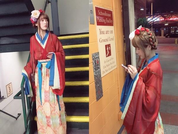 ▲徐嬌在美國念書,穿漢服出門逛街。(圖/翻攝自微博)