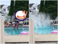 調情被炸毀!小情侶泳池畔放閃 竟飛來人肉深水炸彈