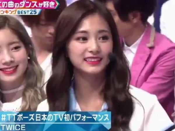 ▲TWICE上《Music Station》,子瑜被主持人cue。(圖/翻攝自推特)