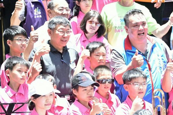 ▲▼柯文哲出席「天母有愛、齊心做公益」活動。(圖/台北市政府提供)