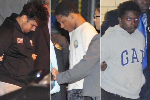 ▲3名嫌犯:金內爾(由左型右)、威廉斯、沃克被捕時的畫面。(圖/翻攝自紐約郵報)