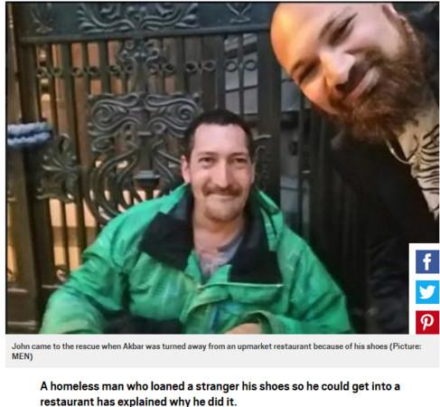 ▲▼英國曼徹斯特(Manchester)流浪漢喬納森(Jonathon Byles)把鞋子借給陌生人,獲得3份工作。(圖/翻攝自《metro》)