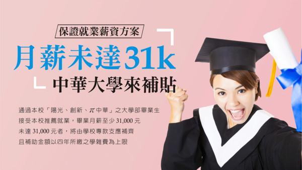 ▲▼中華大學祭出31K就業保證。(圖/翻攝中華大學官網)