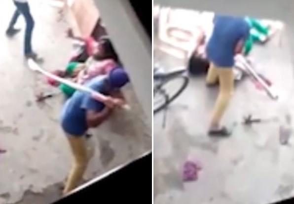 ▲印度婦女遭2男虐打,只因她生了女兒。(圖/YouTube/Akademi Portal)