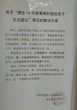 ▲▼天津外國語大學「開窗」讓燕子窩可以保留。(圖/翻攝張家口在線)