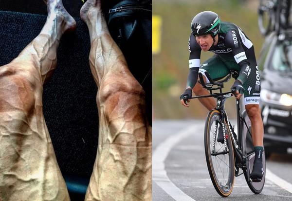 ▲波蘭選手波賈斯基(Pawel Poljanski)參加2017環法自行車賽,雙腳彷彿佈滿蚯蚓。(組合圖左/翻攝自Pawel Poljanski臉書,圖右/CFP)