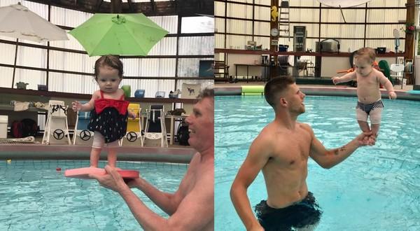 ▲▼冰島一名游泳教練研發出一套課程,教會4個月大嬰兒站立和平衡。(圖/翻攝自Ungbarnasund Snorra粉絲專頁)