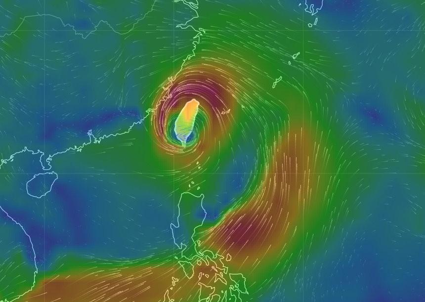 風場預報顯示圖。(圖/中央氣象局)