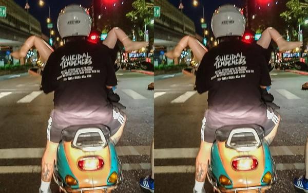 ▲騎車載「充氣女友」兜風 神姿勢讓網友秒噴飯(圖/翻攝自爆料公社)