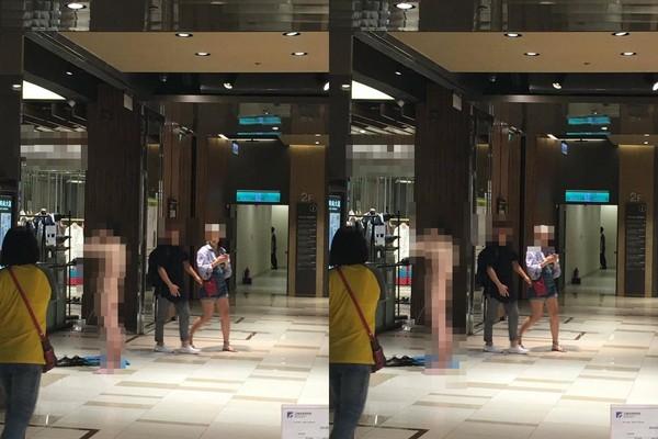 ▲台北京站出現民眾裸體撒尿。(圖/翻攝自爆廢公社)
