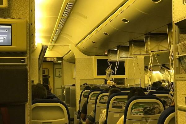 ▲▼全日空傳巨響氧氣罩落下!空姐顫抖廣播。(圖/翻攝自推特/@taratarakiss、@Momo8631)