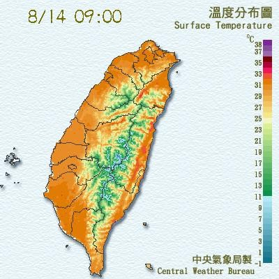 北台灣高溫上看38℃。(圖/翻攝自中央氣象局)