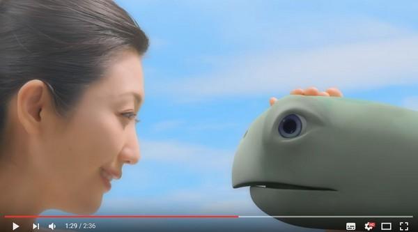 ▲▼壇蜜在廣告中摸烏龜的頭,烏龜竟然瞬間變大。(圖/翻攝自YouTube)