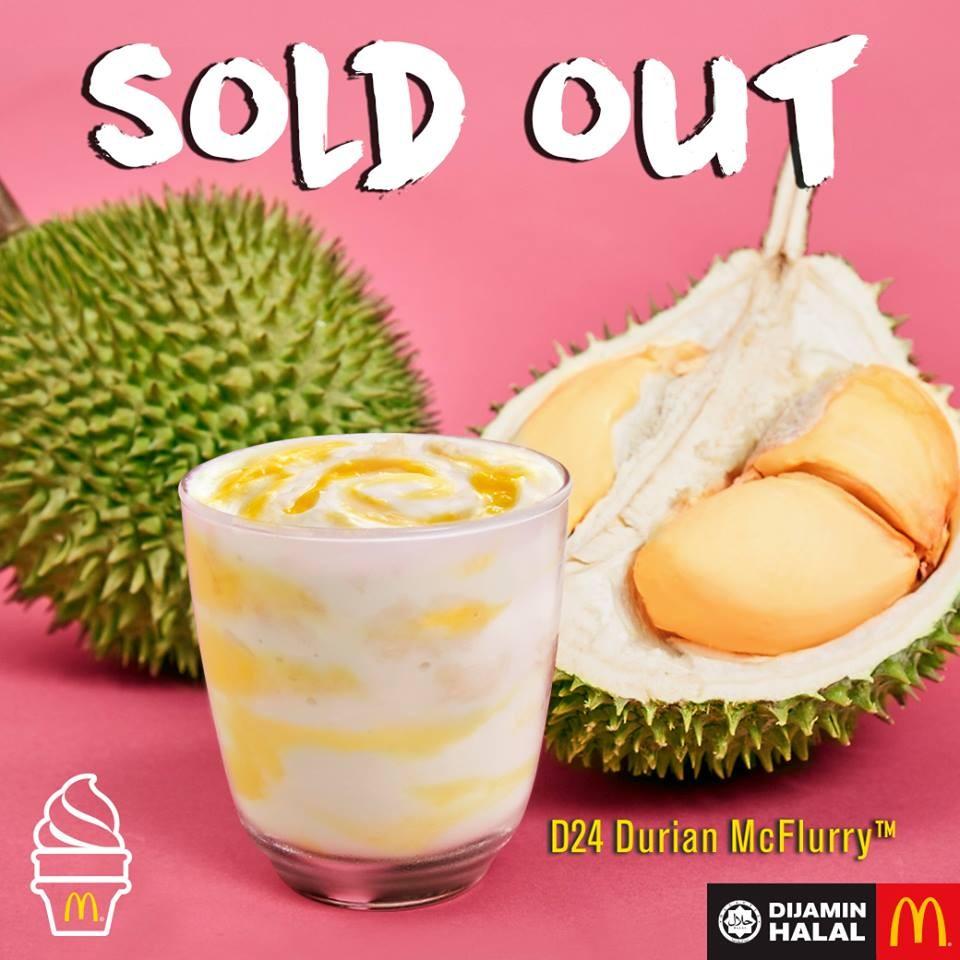 馬來西亞的榴槤冰炫風。(圖/翻攝麥當勞臉書)