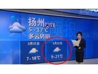 「3月32日多雲?」 揚州電視台氣象預報出紕漏