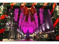 「粉紅瀑布」燈海點亮長廊!高雄台鋁商場耶誕超浪漫