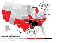 美國情色地圖 密西西比人在色情網站待最久