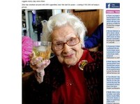 日抽15根菸、愛喝威士忌 英國老太太活到100歲